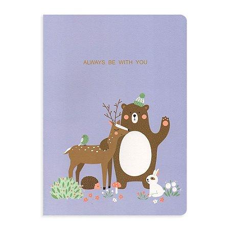 Caderno Brochura Always Be With You Urso Roxo