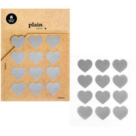 Adesivo Divertido Papel - 2 Cartelas Plain Deco + n.40 Corações Cinzas