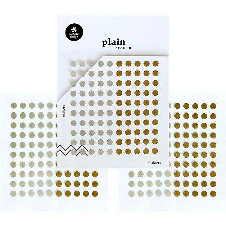 Adesivo Divertido Papel - 3 Cartelas Plain Deco + n.36 Bolinhas Prateadas e Douradas