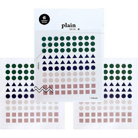 Adesivo Divertido Transparente - 3 Cartelas Plain Deco + n.21 Formas Geométricas Cores Frias