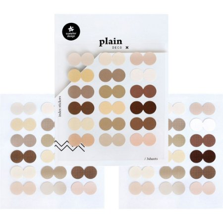 Adesivo Divertido Papel - 3 Cartelas Plain Deco + n.41 Index Stickers Círculos Cores Quentes