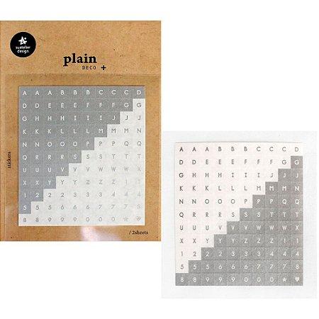 Adesivo Divertido Papel - 2 Cartelas Plain Deco + n.30 Alfabeto Prateado e Branco