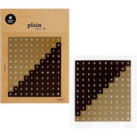 Adesivo Divertido Papel - 2 Cartelas Plain Deco + n.29 Alfabeto Dourado e Marrom