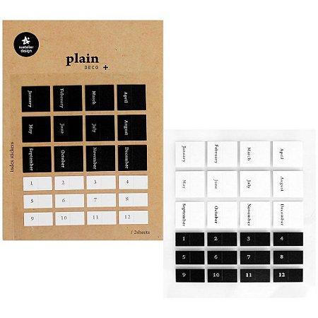 Adesivo Divertido Nylon - 2 Cartelas Plain Deco + n.45 Index Stickers Meses Prateado