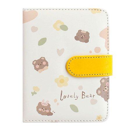 Caderno Brochura Com folhas Ilustradas e Fecho Magnético Soft Touch Lovely Bear Amarelo 2
