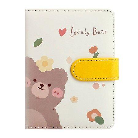 Caderno Brochura Com folhas Ilustradas e Fecho Magnético Soft Touch Lovely Bear Amarelo 1