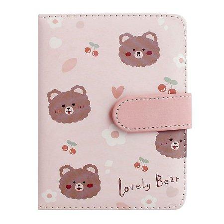 Caderno Brochura Com folhas Ilustradas e Fecho Magnético Soft Touch Lovely Bear Rosa 2