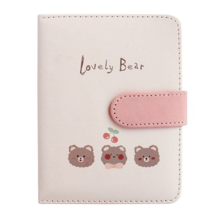 Caderno Brochura Com folhas Ilustradas e Fecho Magnético Soft Touch Lovely Bear Rosa 1