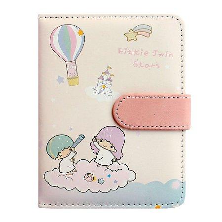 Caderno Brochura Com Folhas Ilustradas e Fecho Magnético Soft Touch Anjinhos Rosa 2