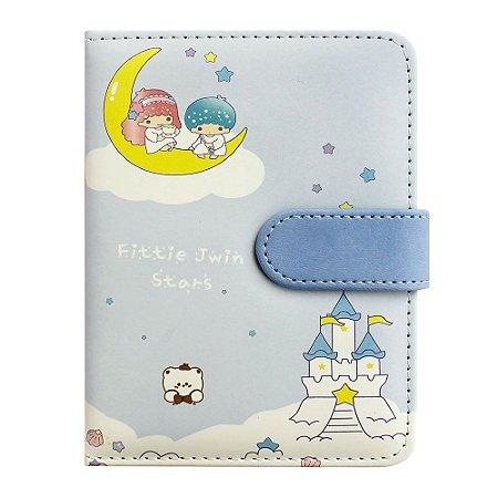 Caderno Brochura Com Folhas Ilustradas e Fecho Magnético Soft Touch Anjinhos Azul