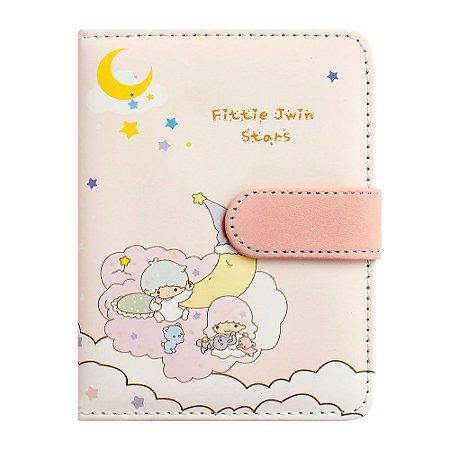 Caderno Brochura Com Folhas Ilustradas e Fecho Magnético Soft Touch Anjinhos Rosa 1