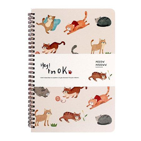 Caderno Espiral Pautado B5 Hey! I'm Ok Gatos Creme