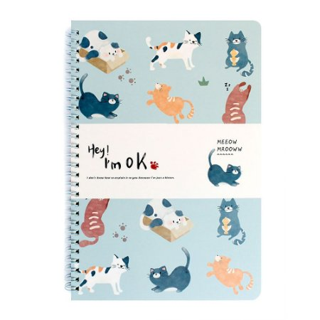 Caderno Espiral Pautado B5 Hey! I'm Ok Gatos Azul