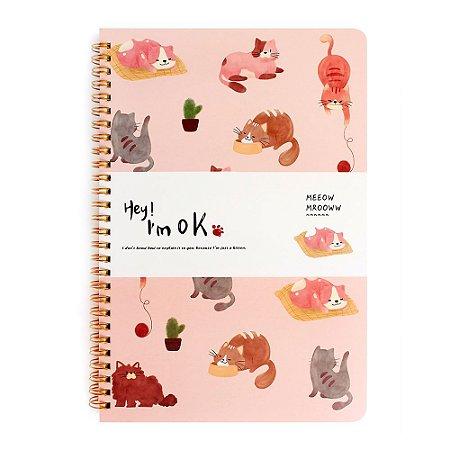 Caderno Espiral Pautado B5 Hey! I'm Ok Gatos Rosa