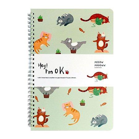 Caderno Espiral Pautado B5 Hey! I'm Ok Gatos Verde