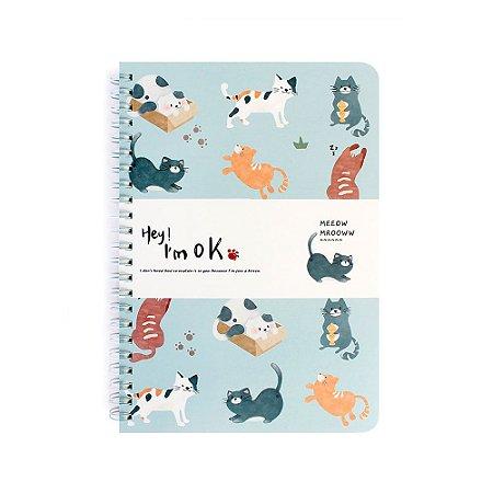 Caderno Espiral Pautado A5 Hey! I'm Ok Gatos Azul