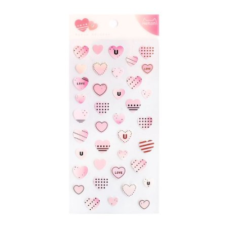 Adesivo Divertido Papel - Basic Sticker Corações Rosa Nekoni