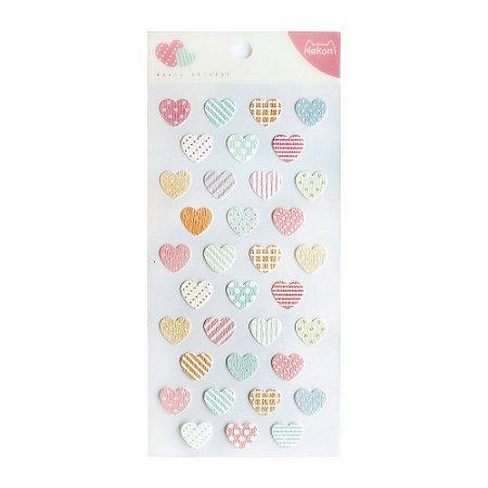 Adesivo Divertido Papel - Basic Sticker Corações Nekoni