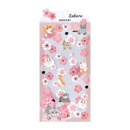 Adesivo Divertido Papel - Gatos Sakura Nekoni