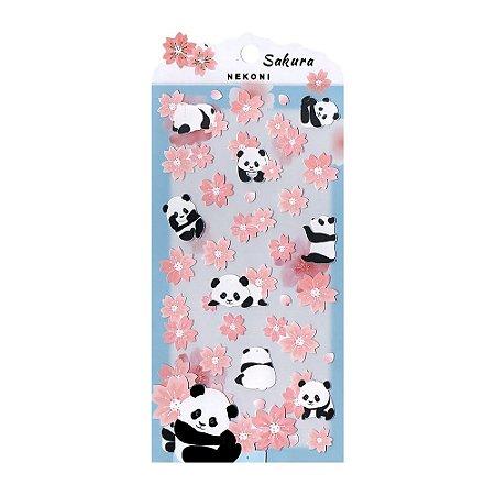 Adesivo Divertido Papel - Pandas Sakura Nekoni
