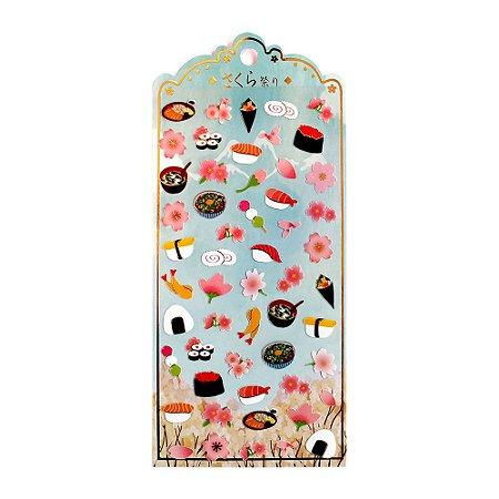 Adesivo Divertido Papel - Comida Japonesa Sushi Nekoni Sakura