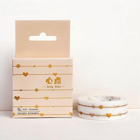 Fita Decorativa Washi Tape - Metálica Dourada Linhas Coração