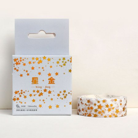 Fita Decorativa Washi Tape - Metálica Dourada Estrelas