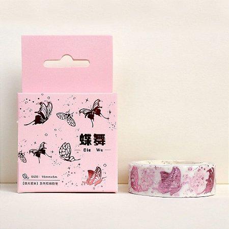 Fita Decorativa Washi Tape - Metálica Rosa Borboletas