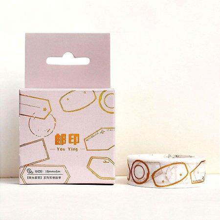 Fita Decorativa Washi Tape - Metálica Dourada Tags