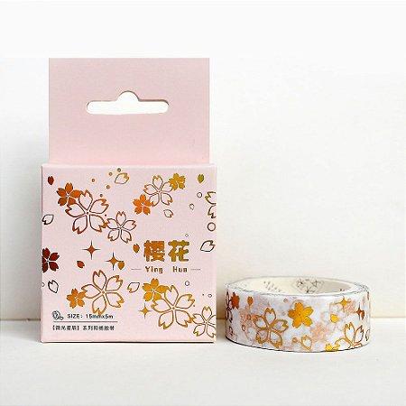 Fita Decorativa Washi Tape - Metálica Dourada Sakura