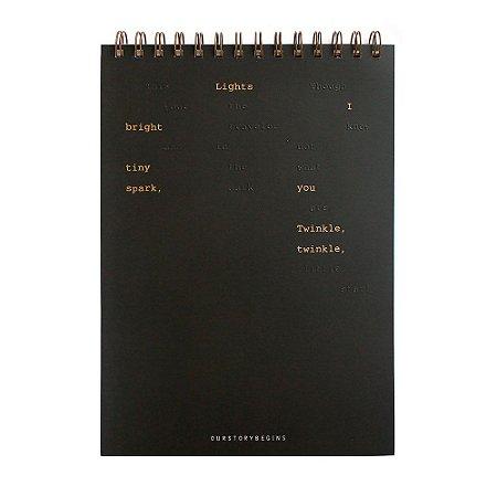 Caderno Espiral Sem Pauta Capa Dura 26x18cm Preto - Our Story Begins