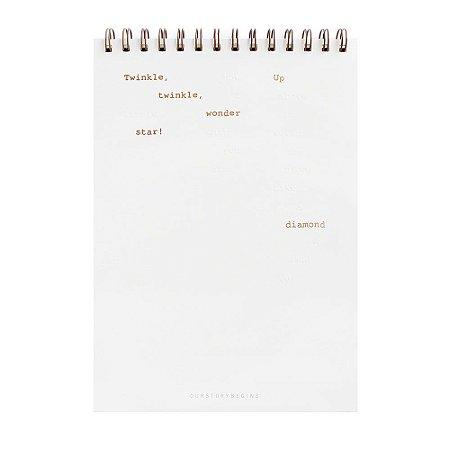 Caderno Espiral Sem Pauta Capa Dura 26x18cm Branco - Our Story Begins