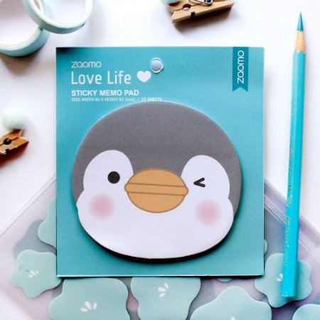 Post-it Sticky Memo Pad Pinguim Azul - Zaomo