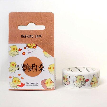 Fita Decorativa Washi Tape - Animais Passarinho Amarelo