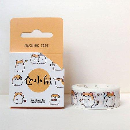 Fita Decorativa Washi Tape - Animais Hamster Laranja