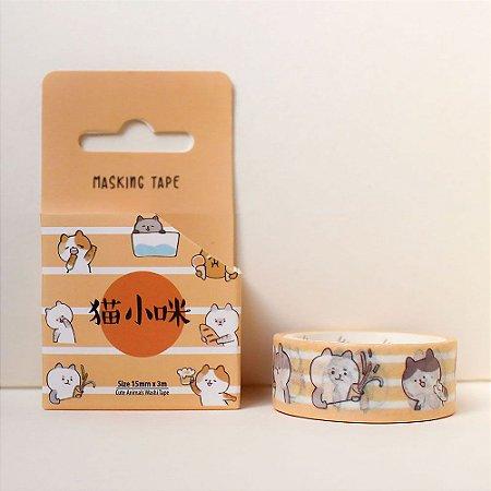 Fita Decorativa Washi Tape - Animais Gato Laranja