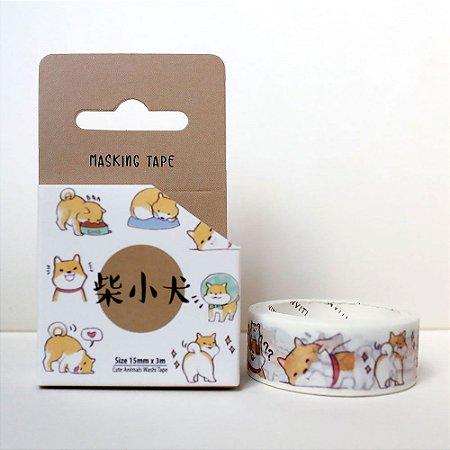 Fita Decorativa Washi Tape - Animais Cachorro Shiba Inu Marrom