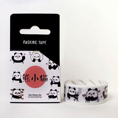 Fita Decorativa Washi Tape - Animais Panda Preto