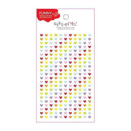 Adesivo Divertido Epoxy - Mini Corações Coloridos