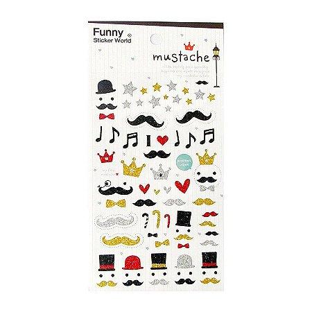 Adesivo Divertido Glitter - Mustache