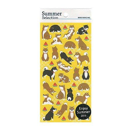 Adesivo Divertido de Papel - Cachorro Japonês Akita - Summer Selection