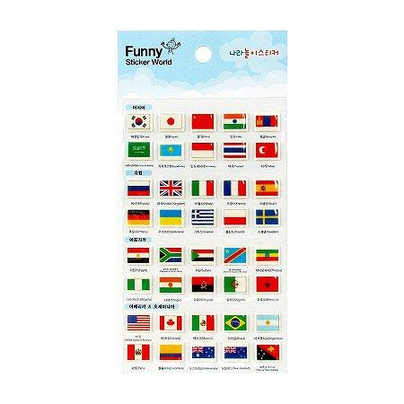Adesivo Divertido Puffy - Bandeiras