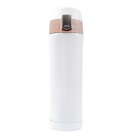 Garrafa Térmica Lisa com Botão 450ml - Branco