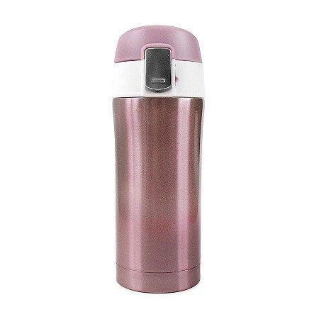 Garrafa Térmica Lisa com Botão 300ml - Rosa