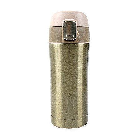 Garrafa Térmica Lisa com Botão 350ml - Dourado