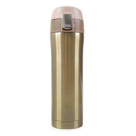 Garrafa Térmica Lisa com Botão 500ml - Dourado