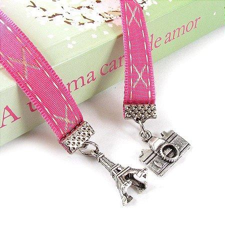 Marca Páginas Fita Pingente Torre Eiffel Câmera Rosa Pink X