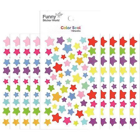 Adesivo Divertido Papel - Color Seal Estrelas Coloridas M 9 Cartelas