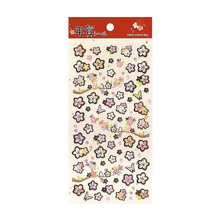 Adesivo Divertido Papel - Nenga Shiiru Sakura Vermelho Dourado