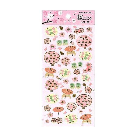 Adesivo Divertido Papel - Sakura Gokoro Series Rosa